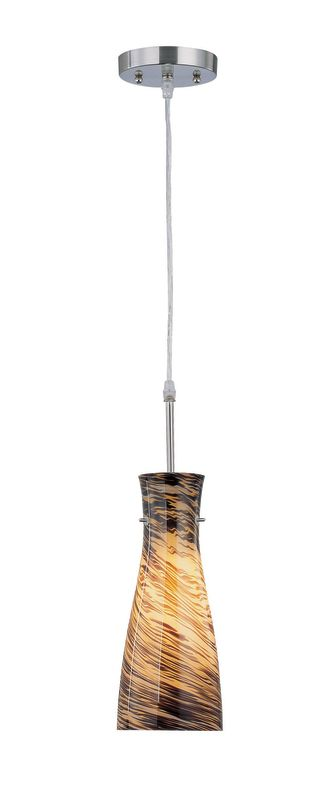 Lite Source LS-19197AMB 1 Light Pendant light with Amber Glass Shade
