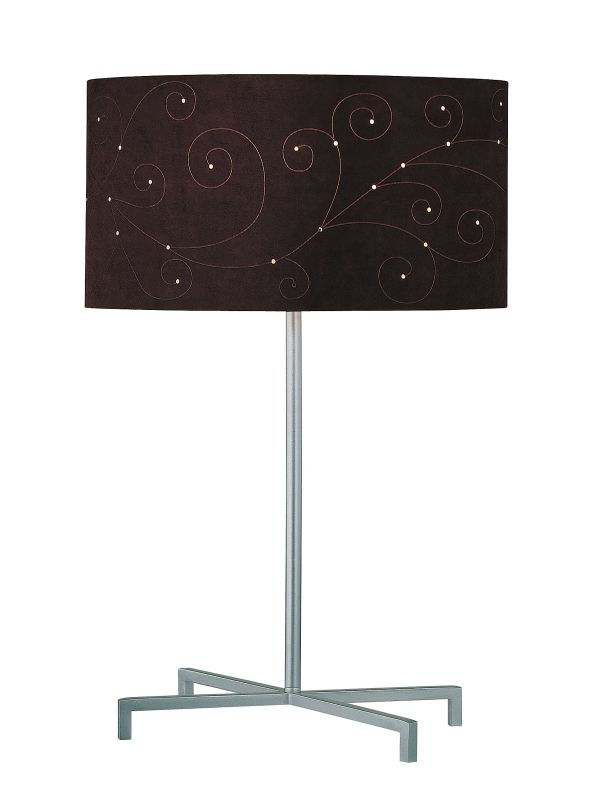 Lite Source LS-21362 1 Light Table Lamp with Coffee Laser Cut Suede