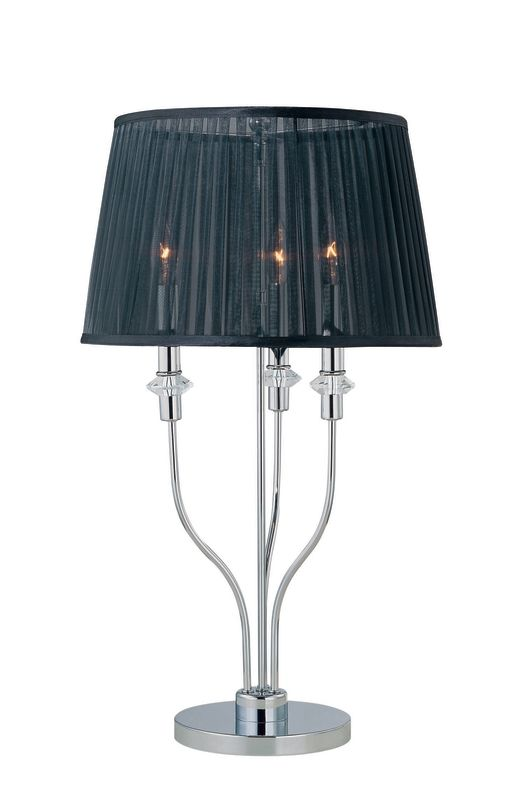 Lite Source LS-21471C/BLK 3 Light Table Lamp with Black Organza Shade