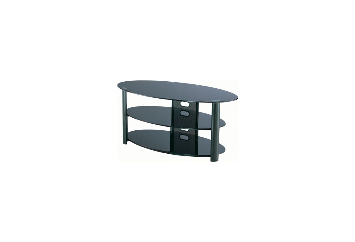 Lite Source LSH-5602 3 Tier TV Stand Black Chrome / Black Glass from