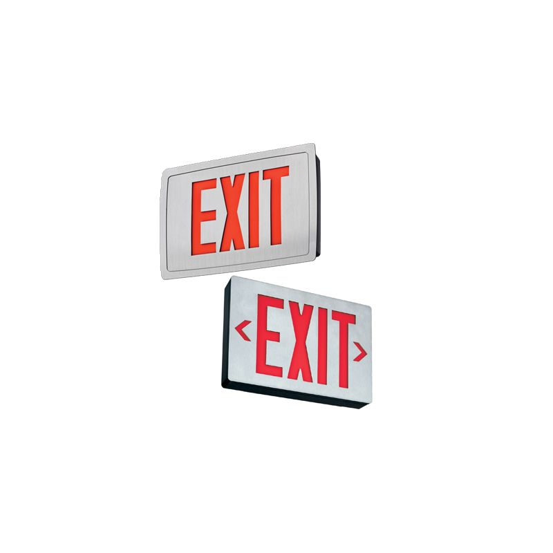 """Lithonia Lighting LE S 1 R EL N 11"""" LED Lighted Exit Sign Silver"""