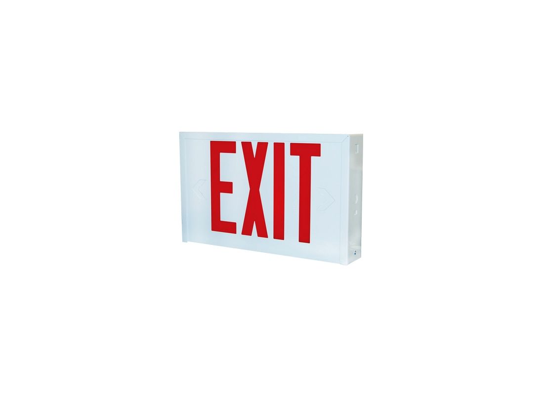 "Lithonia Lighting LX W 3 R EL N 15"" LED Lighted Exit Sign White"