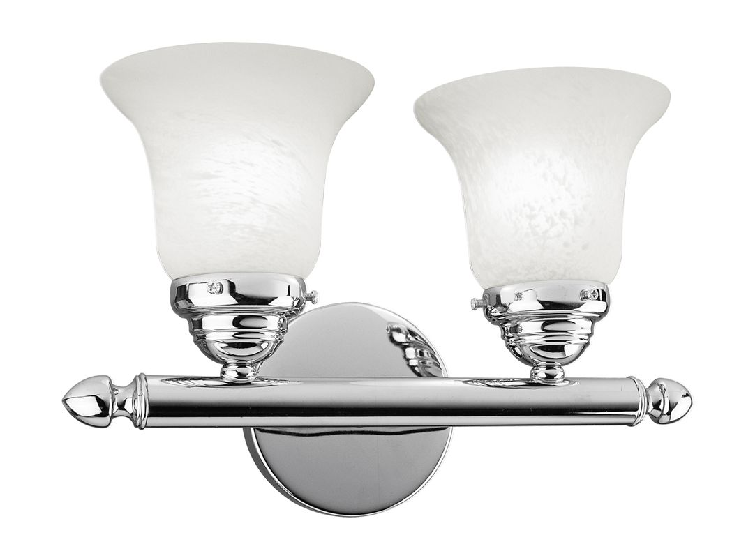 Livex Lighting 1062P Neptune 2 Light Bathroom Vanity Light Chrome