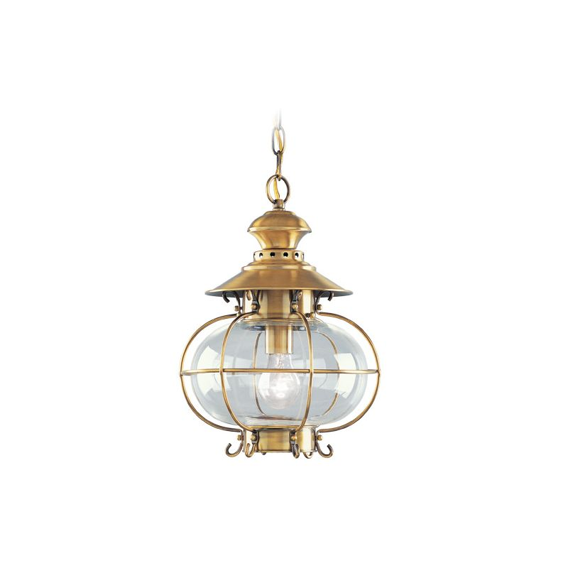 Livex Lighting 2225 Harbor 1 Light Outdoor Pendant Flemish Brass