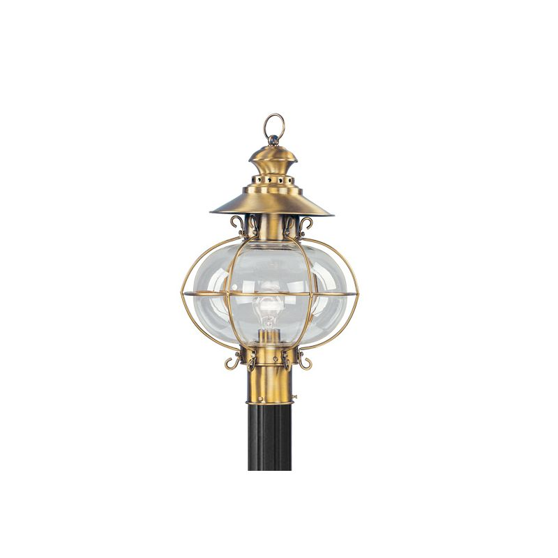Livex Lighting 2226 Harbor 1 Light Outdoor Post Light Flemish Brass