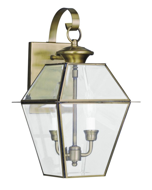 Livex Lighting 2281 Westover 2 Light Outdoor Wall Sconce Antique Brass
