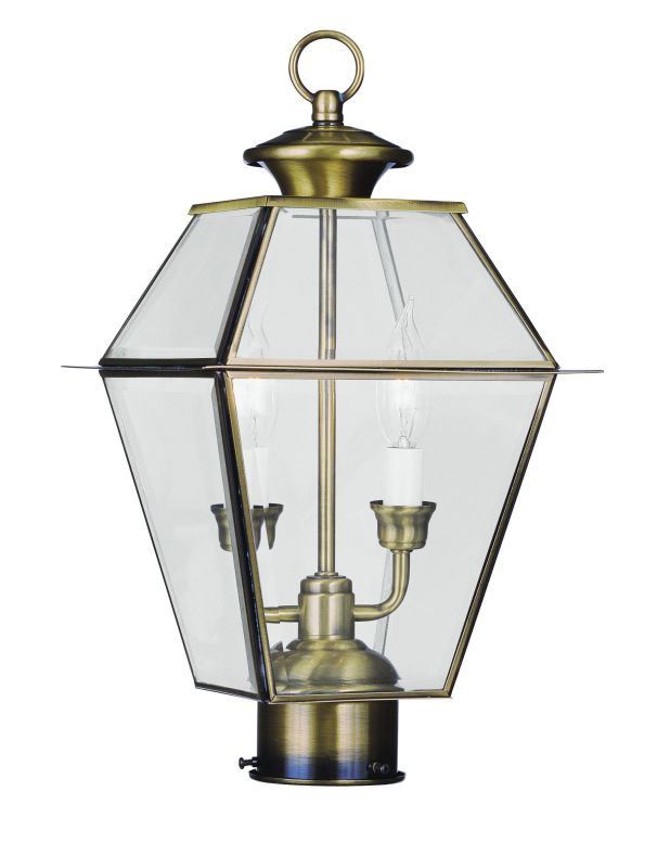 Livex Lighting 2284 Westover 2 Light Outdoor Post Light Antique Brass