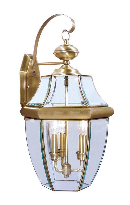 Livex Lighting 2351 Monterey 3 Light Outdoor Wall Sconce Antique Brass