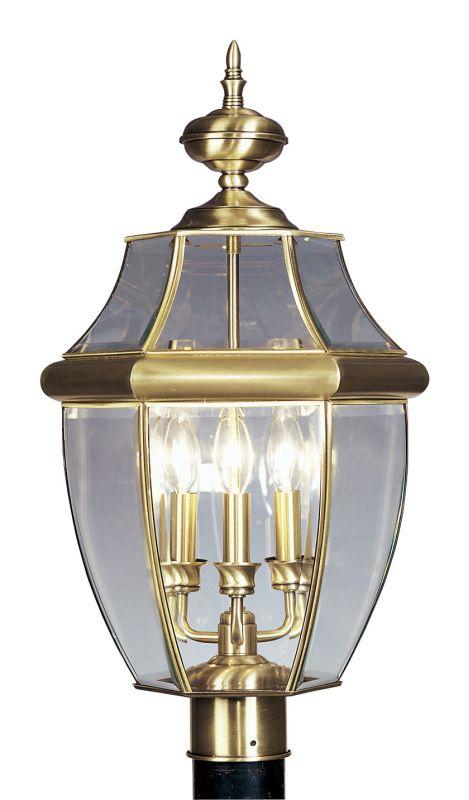 Livex Lighting 2354 Monterey 3 Light Outdoor Post Light Antique Brass