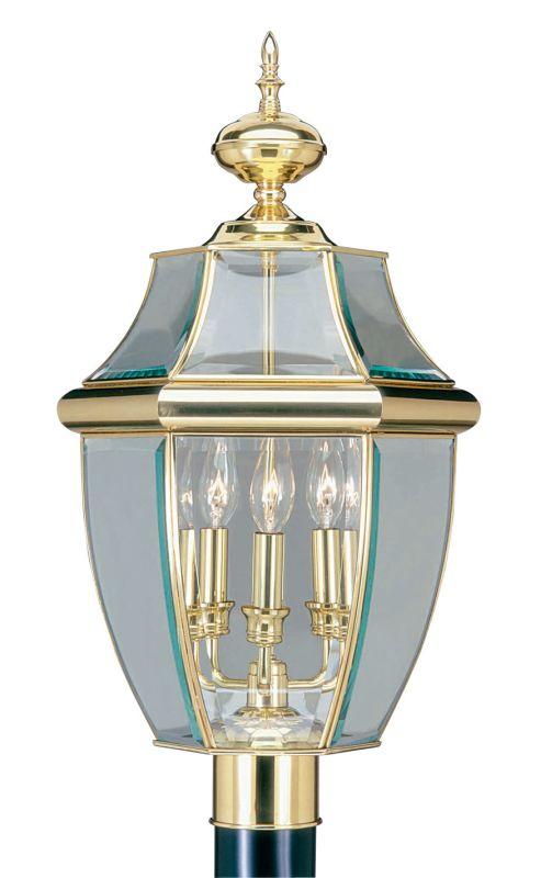 Livex Lighting 2354 Monterey 3 Light Outdoor Post Light Polished Brass