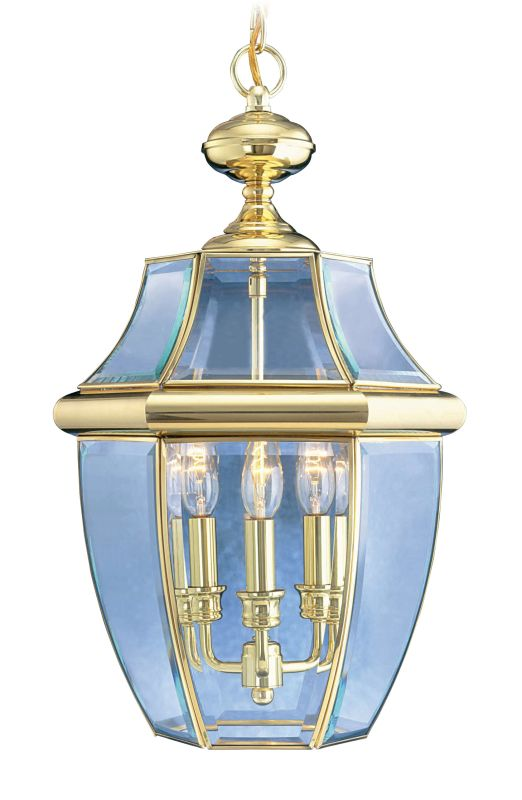 Livex Lighting 2355 Monterey 3 Light Outdoor Pendant Polished Brass