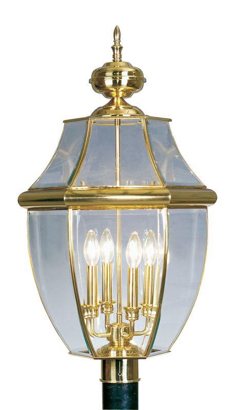 Livex Lighting 2358 Monterey 4 Light Outdoor Post Light Polished Brass