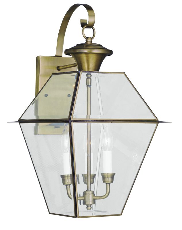 Livex Lighting 2381 Westover 3 Light Outdoor Wall Sconce Antique Brass