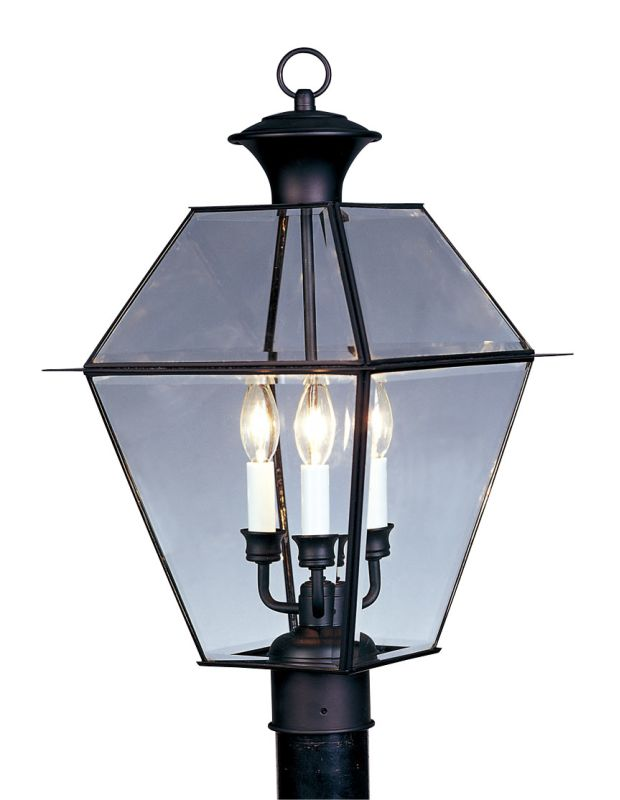Livex Lighting 2384 Westover 3 Light Outdoor Post Light Black Outdoor