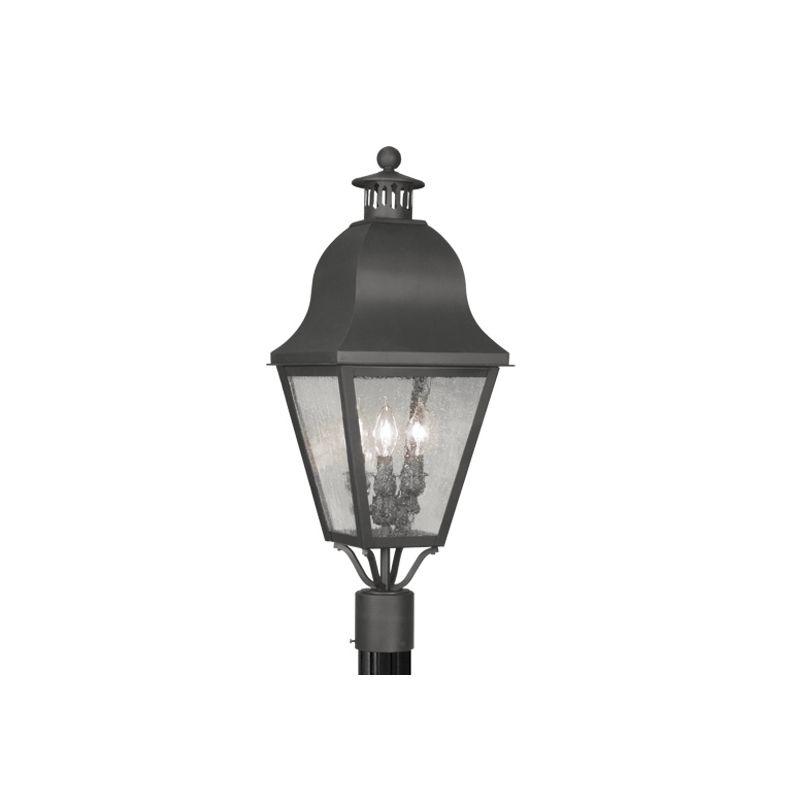 Livex Lighting 2556 Amwell Post Light with 3 Lights Black Outdoor