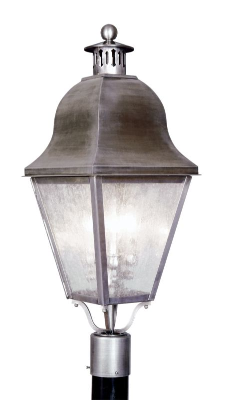 Livex Lighting 2556 Amwell Post Light with 3 Lights Vintage Pewter