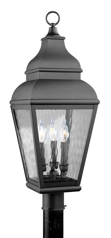 Livex Lighting 2606 Exeter Post Light with 3 Lights Black Outdoor