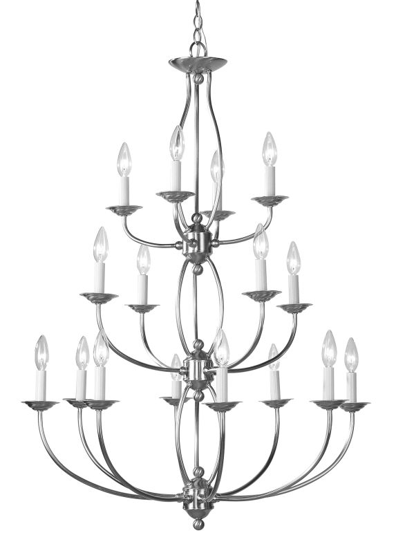Livex Lighting 4160 Home Basics 16 Light 3 Tier Chandelier Brushed