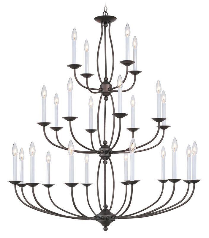 Livex Lighting 4180 Home Basics 24 Light 3 Tier Chandelier Bronze
