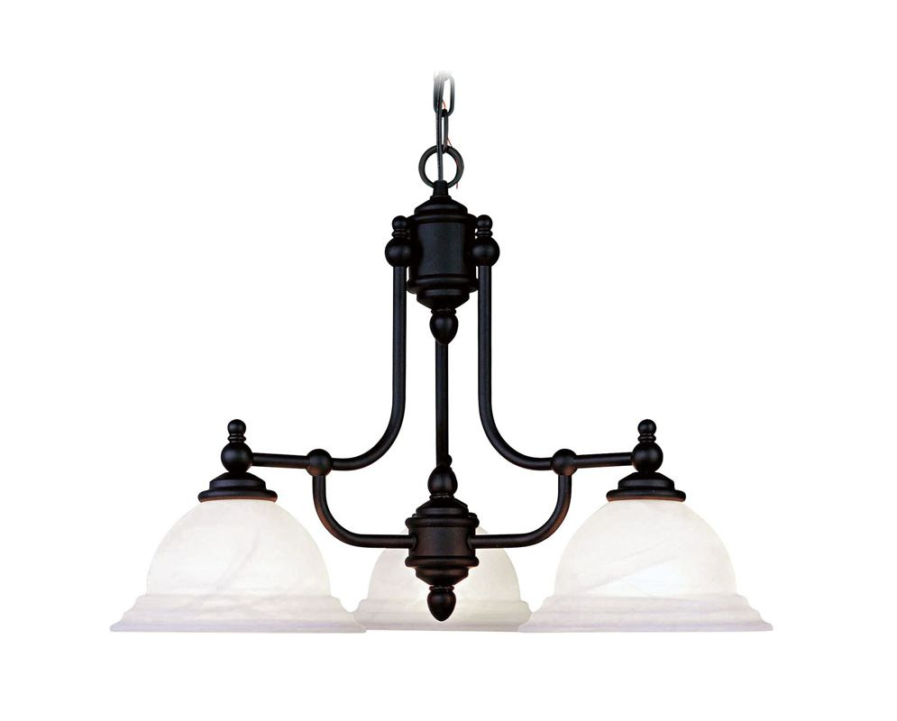 Livex Lighting 4253 North Port 3 Light 1 Tier Chandelier Black Indoor