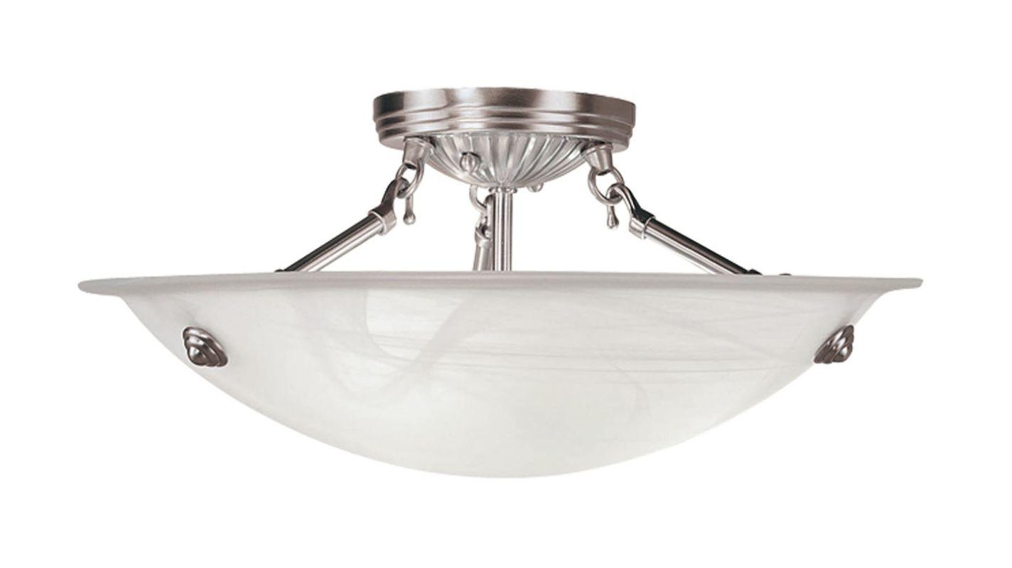 Livex Lighting 4273 Oasis 3 Light Semi-Flush Ceiling Fixture Brushed