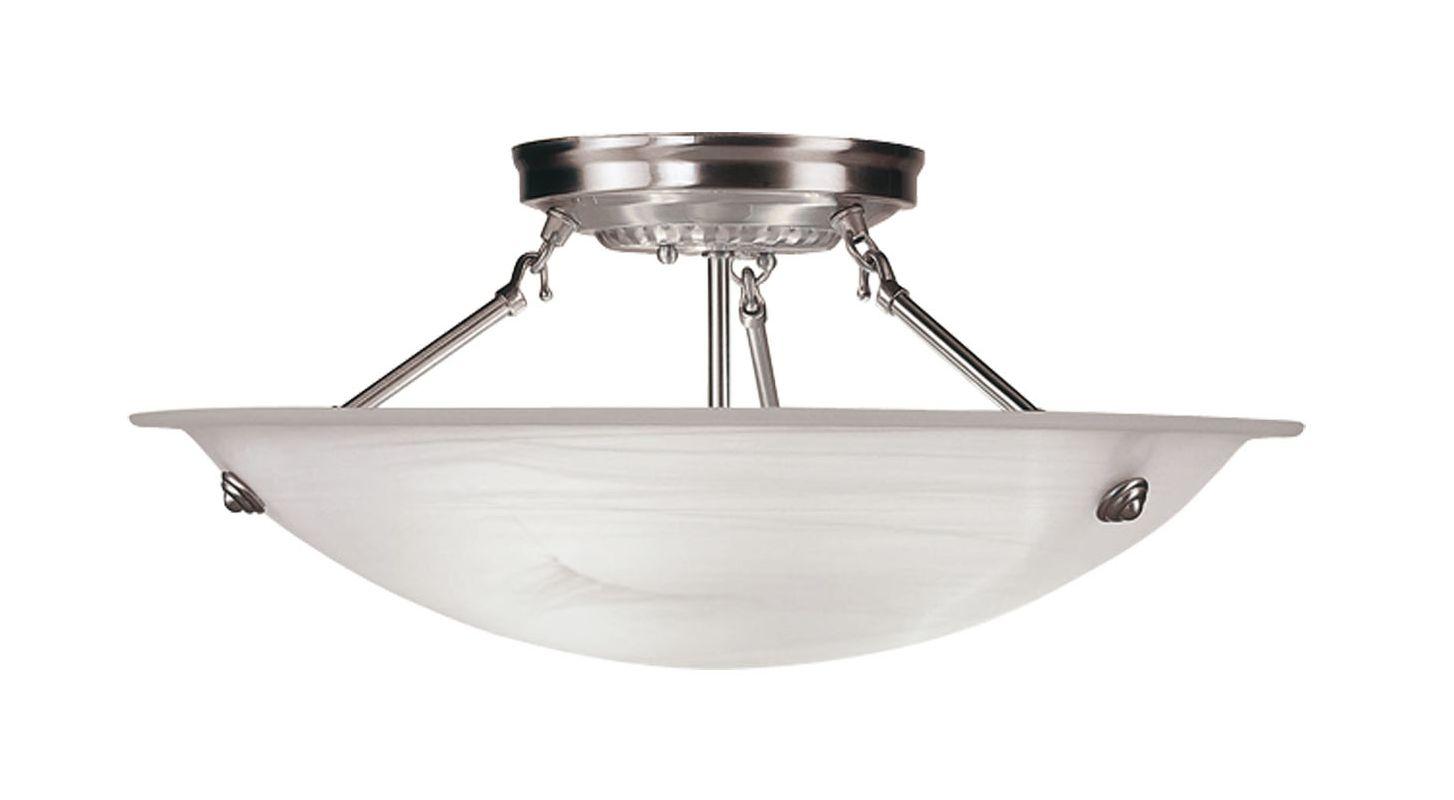 Livex Lighting 4274 Oasis 3 Light Semi-Flush Ceiling Fixture Brushed