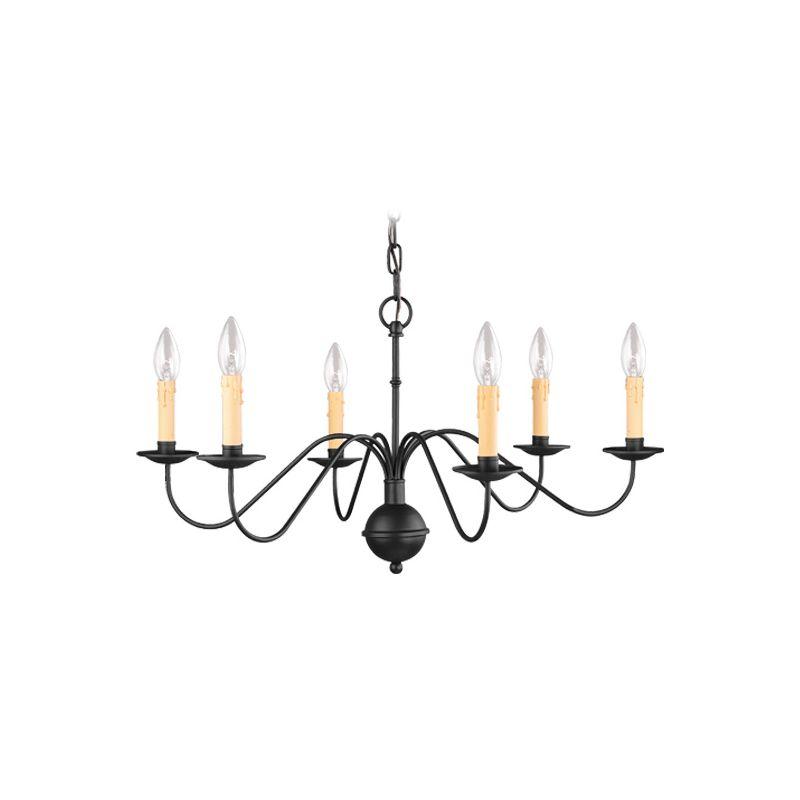 Livex Lighting 4450 Heritage 6 Light 1 Tier Chandelier Black Indoor
