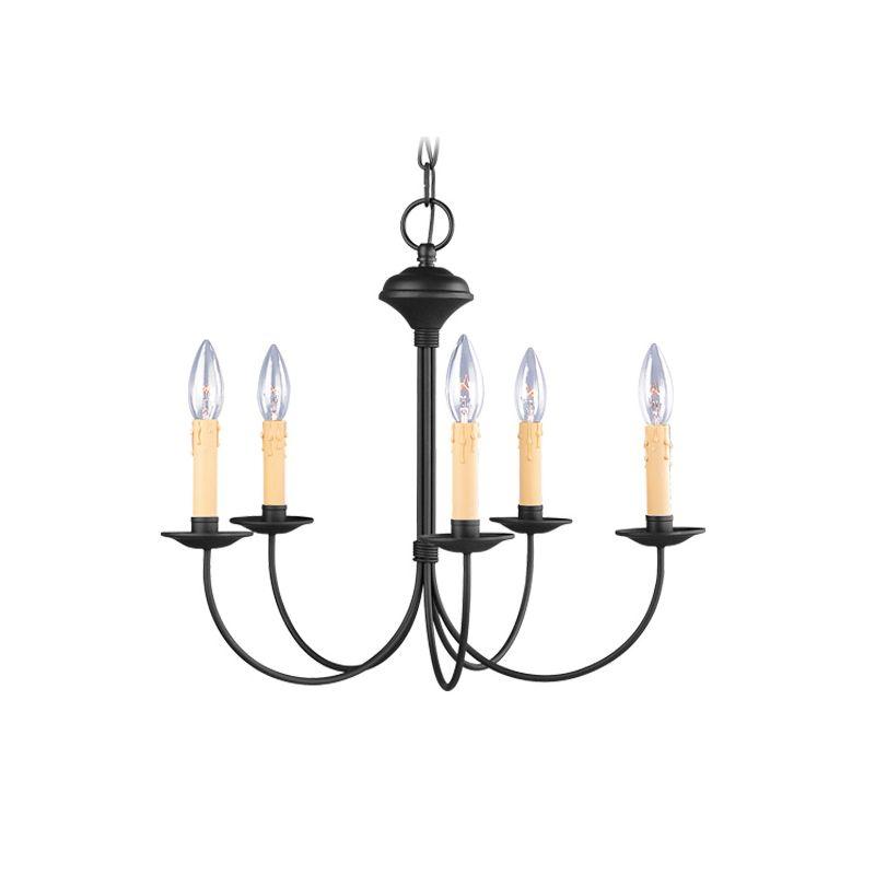 Livex Lighting 4455 Heritage 5 Light 1 Tier Chandelier Black Indoor