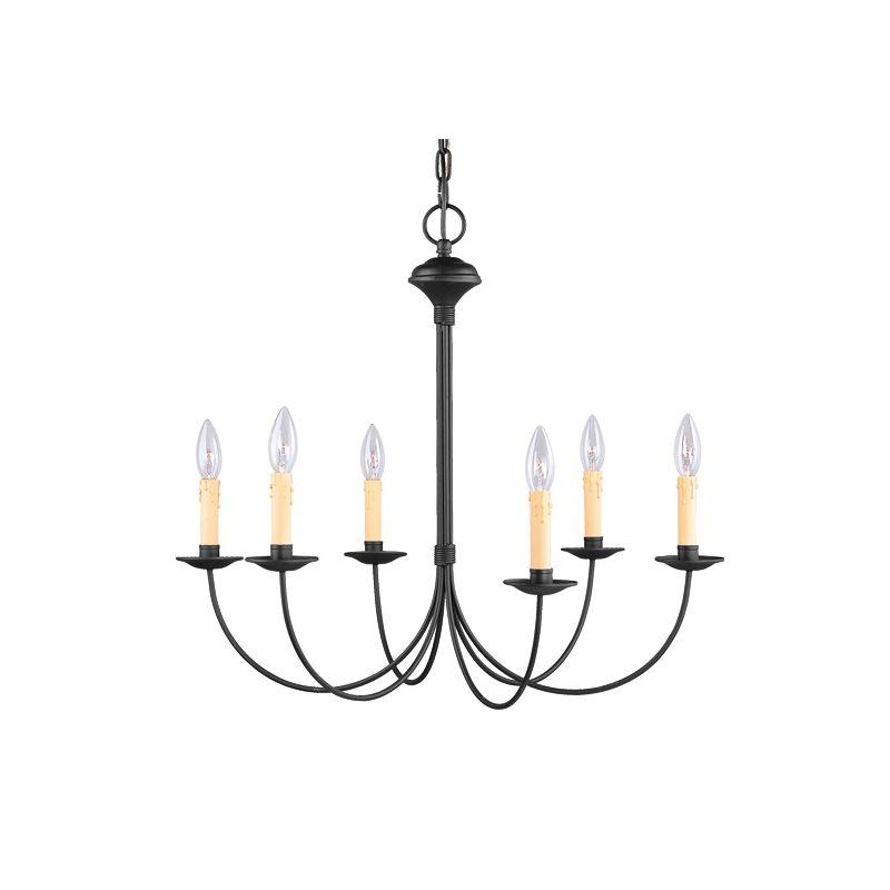 Livex Lighting 4456 Heritage 6 Light 1 Tier Chandelier Black Indoor