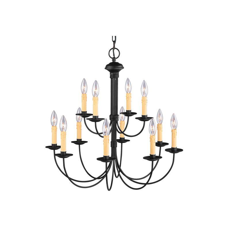 Livex Lighting 4459 Heritage 12 Light 2 Tier Chandelier Black Indoor