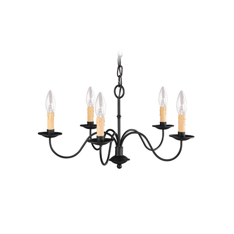 Livex Lighting 4465 Heritage 5 Light 1 Tier Chandelier Black Indoor