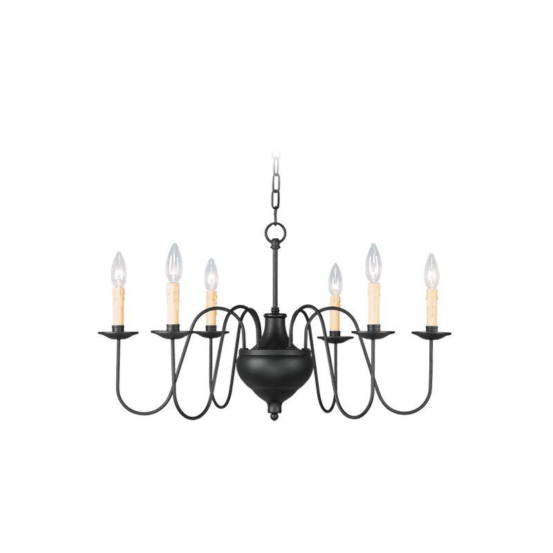 Livex Lighting 4477 Heritage 6 Light 1 Tier Chandelier Black Indoor