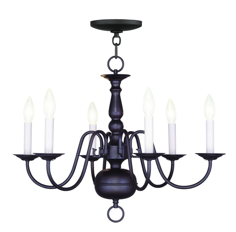 Livex Lighting 5006 Williamsburg Up Lighting 1 Tier Chandelier with 6