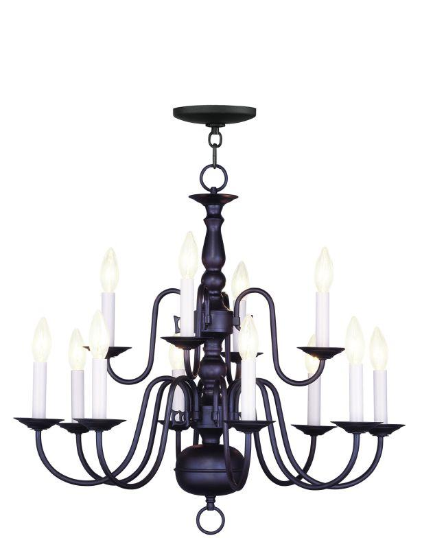 Livex Lighting 5012 Williamsburg 12 Light 2 Tier Chandelier Bronze