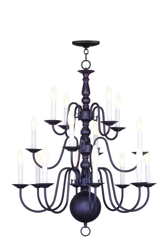 Livex Lighting 5016 Williamsburg 16 Light 3 Tier Chandelier Bronze
