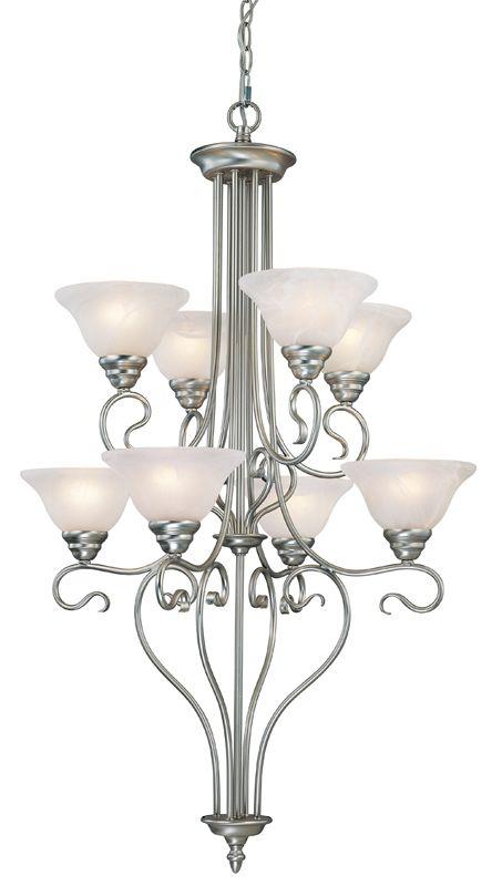 Livex Lighting 6118 Coronado 8 Light 2 Tier Chandelier Brushed Nickel