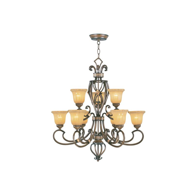 Livex Lighting 6219 Wellington 9 Light 2 Tier Chandelier Windsor