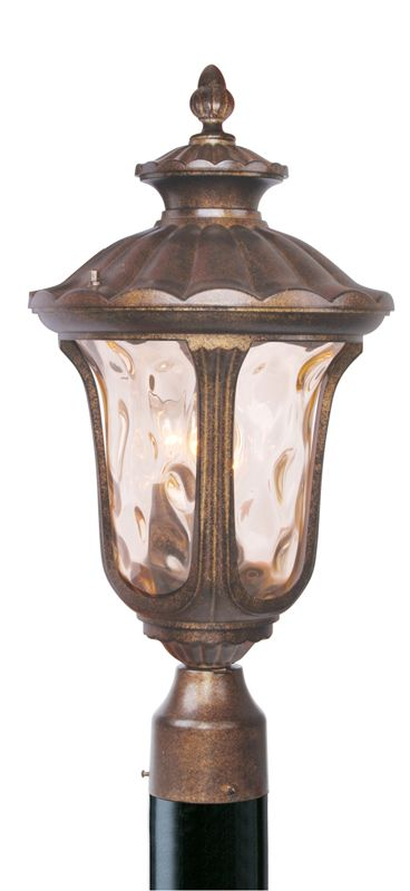 Livex Lighting 7659 Oxford 3 Light Outdoor Post Light Moroccan Gold