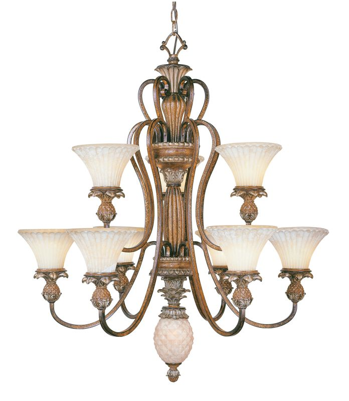 Livex Lighting 8459 Savannah 9 Light 2 Tier Chandelier Venetian Patina