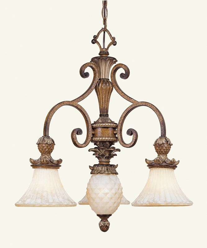 Livex Lighting 8473 Savannah 3 Light 1 Tier Chandelier Venetian Patina