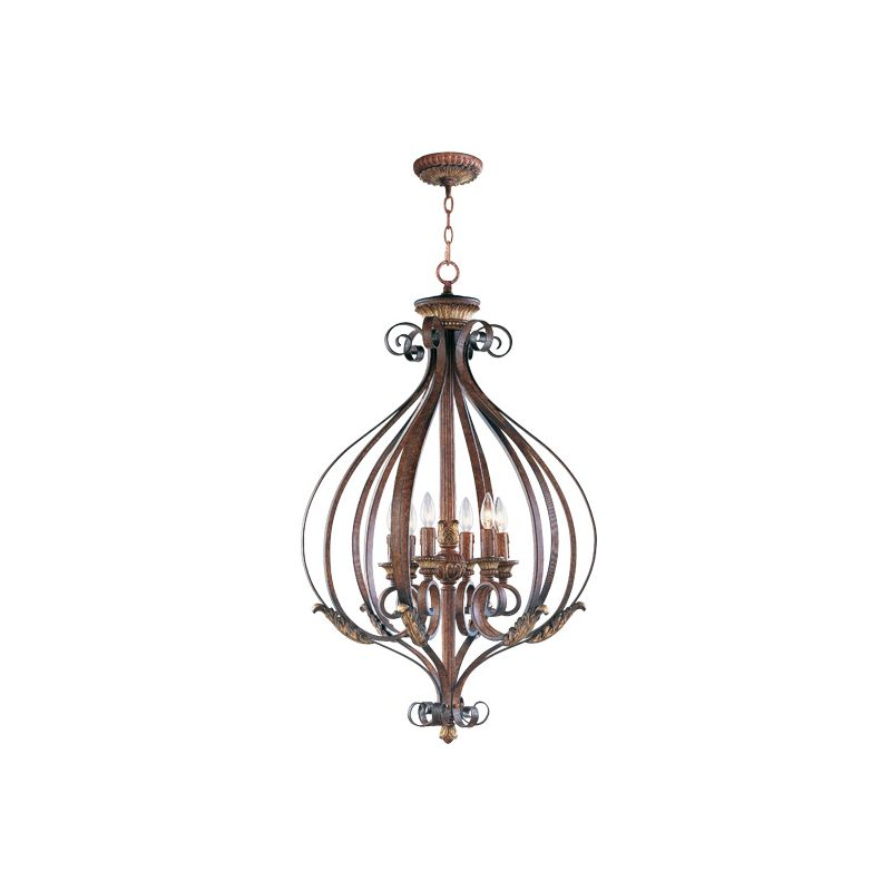 Livex Lighting 8558 Villa Verona 6 Light Pendant Verona Bronze Indoor