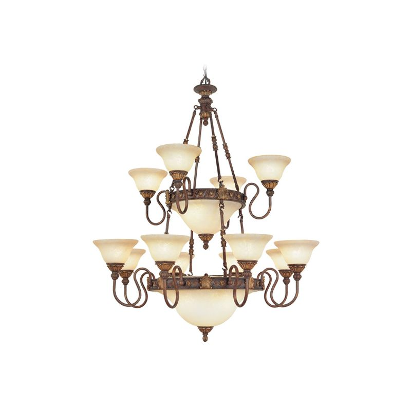 Livex Lighting 8608 Sovereign 18 Light 4 Tier Chandelier Crackled
