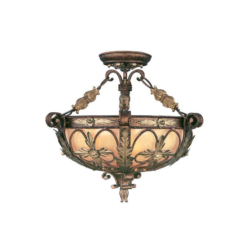 Livex Lighting 8843 Pomplano 3 Light Semi-Flush Ceiling Fixture
