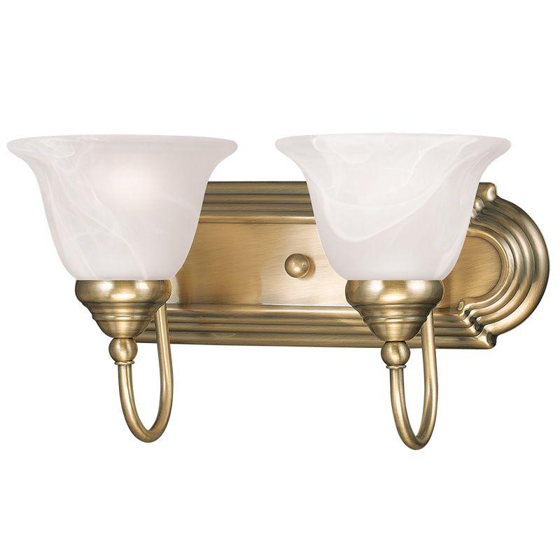 Livex Lighting 1002 Belmont 2 Light Bathroom Vanity Light Antique
