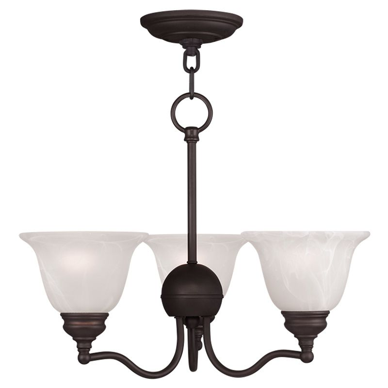 Livex Lighting 1344 Essex 3 Light 1 Tier Chandelier Bronze Indoor