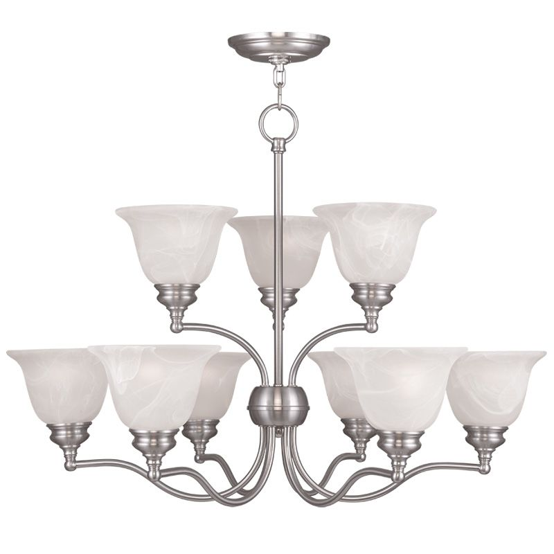 Livex Lighting 1349 Essex 9 Light 2 Tier Chandelier Brushed Nickel