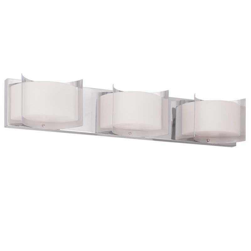 Livex Lighting 1613 Wave 3 Light Bathroom Vanity Light Chrome Indoor