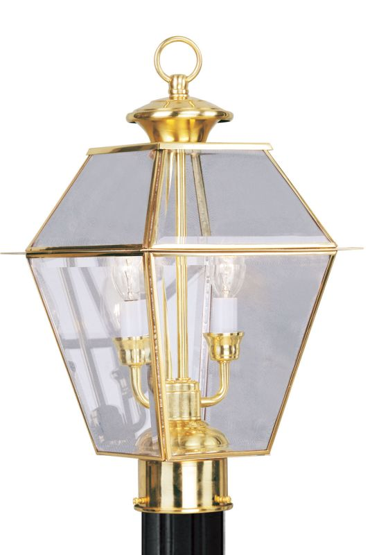 Livex Lighting 2284 Westover 2 Light Outdoor Post Light Polished Brass