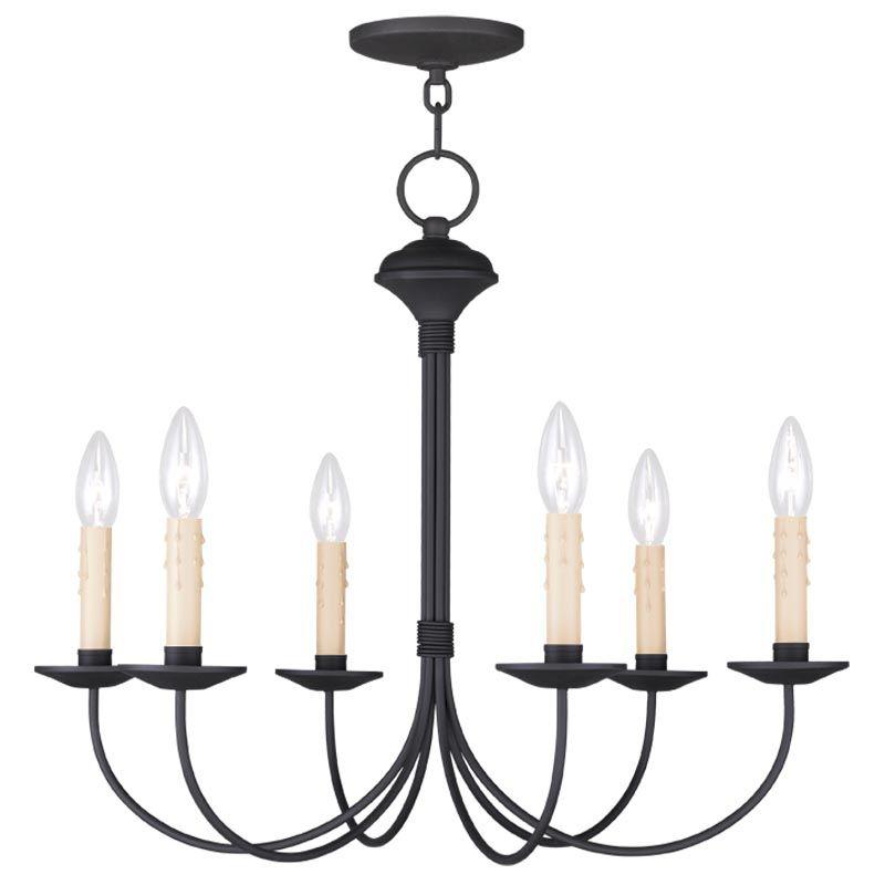 Livex Lighting 4526 Heritage 6 Light 1 Tier Chandelier Black Indoor