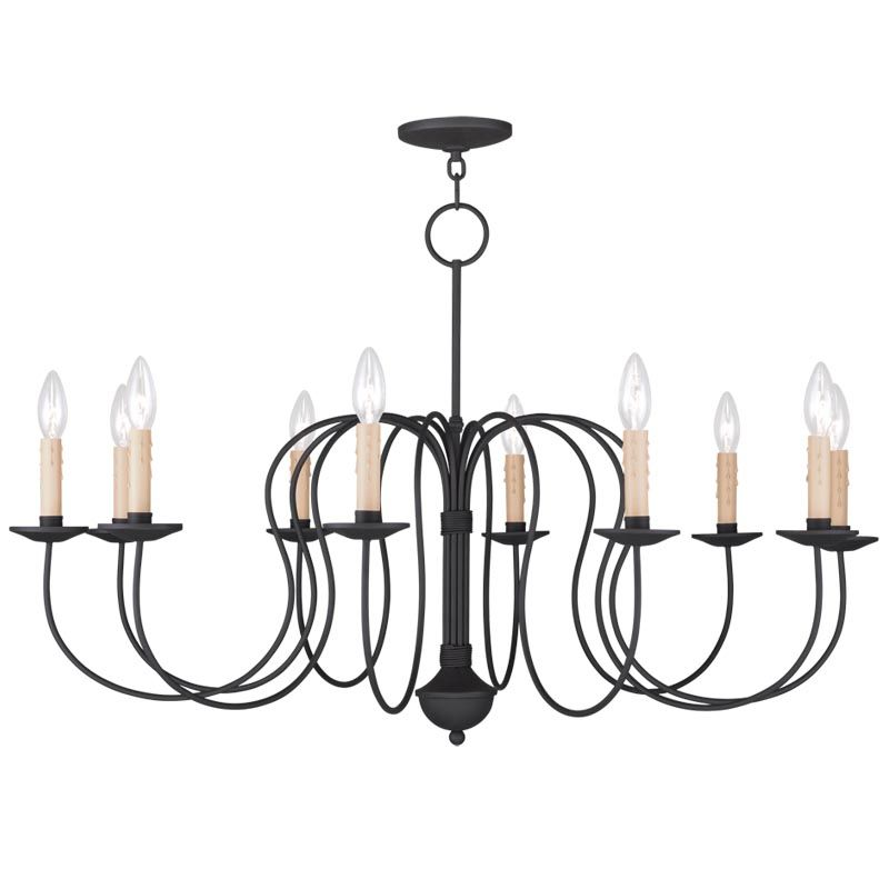 Livex Lighting 4529 Heritage 10 Light 1 Tier Chandelier Black Indoor